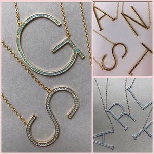 Large Sideways Initial Necklaces w/Small Crystals